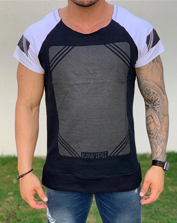 Camiseta Longline Raglan Black Square - Kawipii