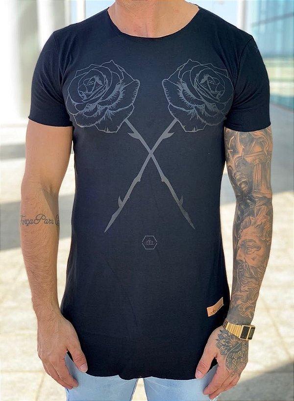 Camiseta Longline Black Roses - kreta