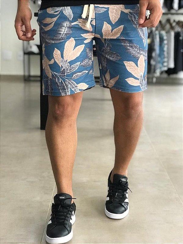 Bermuda Moletinho Blue Flowers - Kawipii