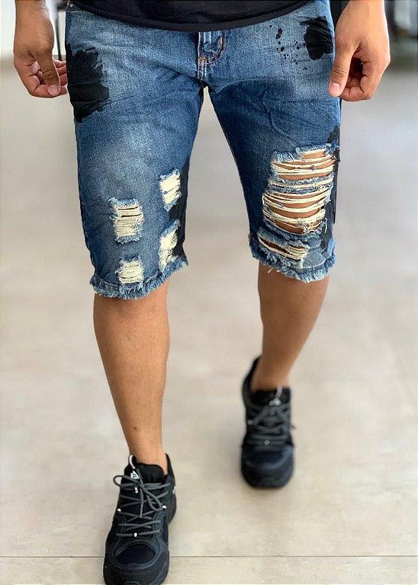 Bermuda Jeans Destroyed Manchada - City Denim