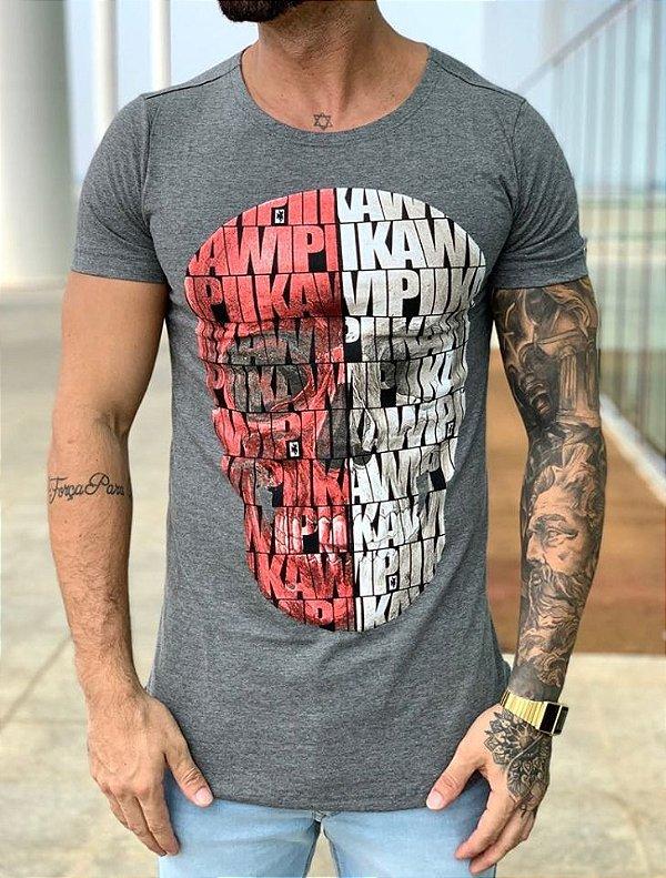 Camiseta Longline Grey Caveira Full KWP - Kawipii