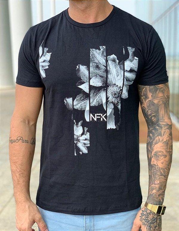 T-Shirt Black Flowers - NF