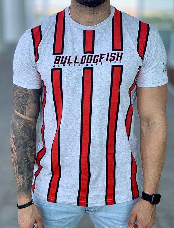T-Shirt Cinza Listras - Bulldog Fish