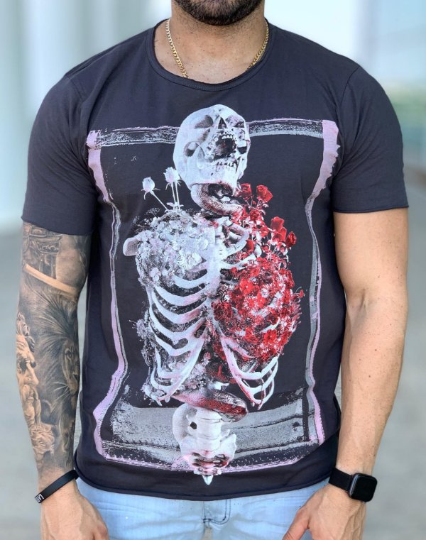 T-SHIRT SKELETON LUNG GREY - DEREKHO