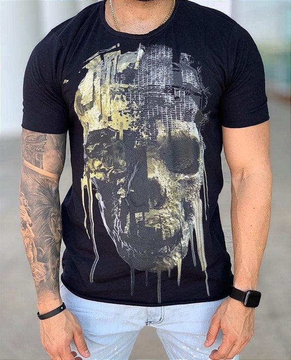 T-shirt Melting Skull Preto - Derekho