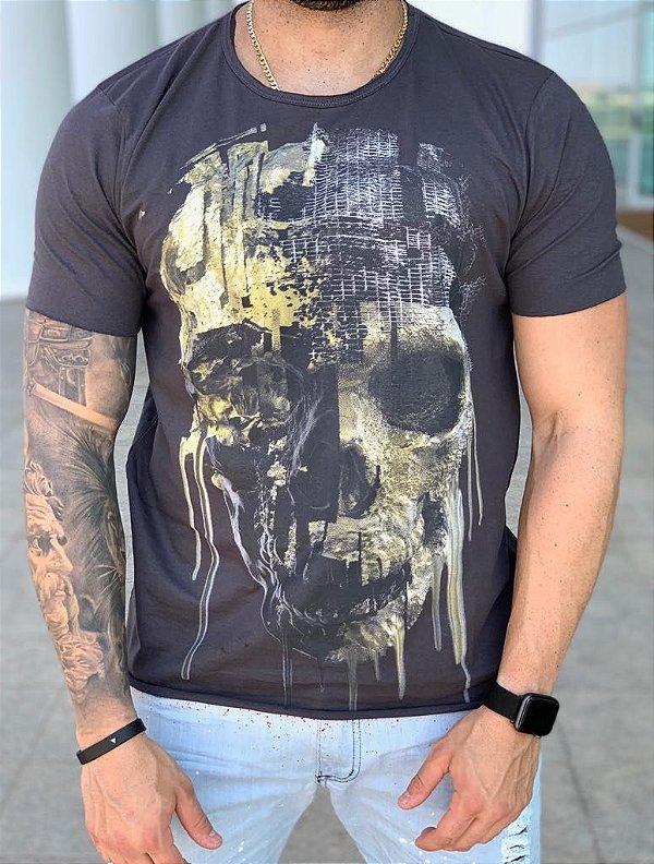 T-shirt Melting Skull Grey - Derekho