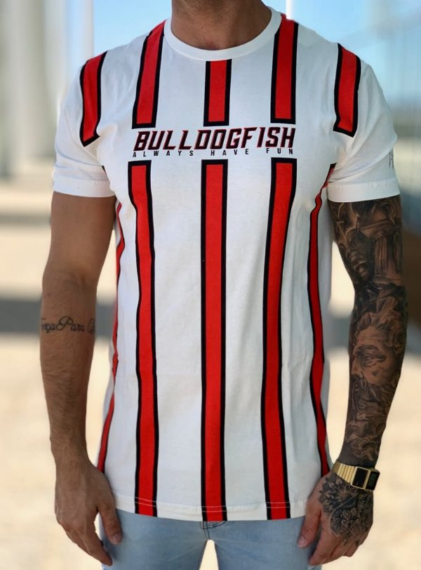 T-shirt Creme Listras - Bulldog Fish