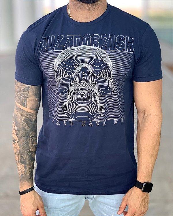 T-shirt Blue Skull 3D - Bulldog Fish