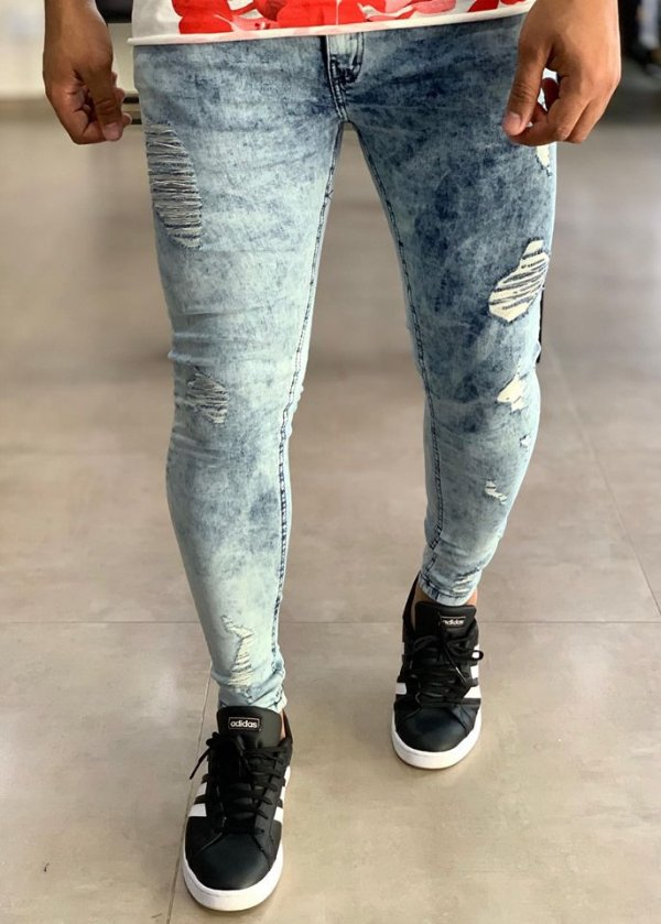 Calça Jeans Tiedye Skinny Destroyed - Creed Jeans