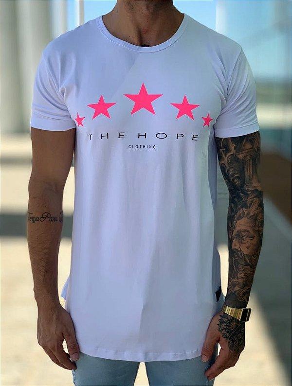 Camiseta Longline White Neon Star Pink - The Hope