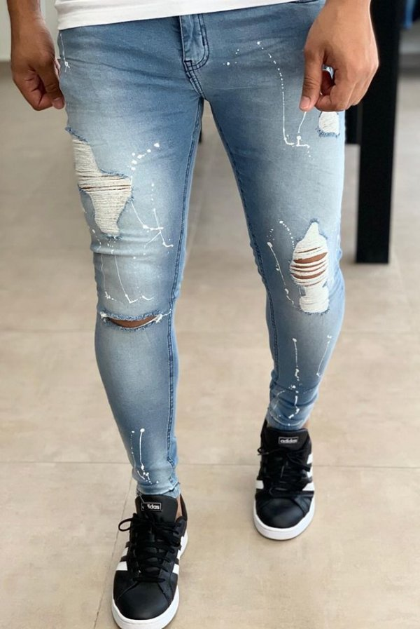 Calça Jeans Skinny Destroyed & Respingos White - Creed Jeans