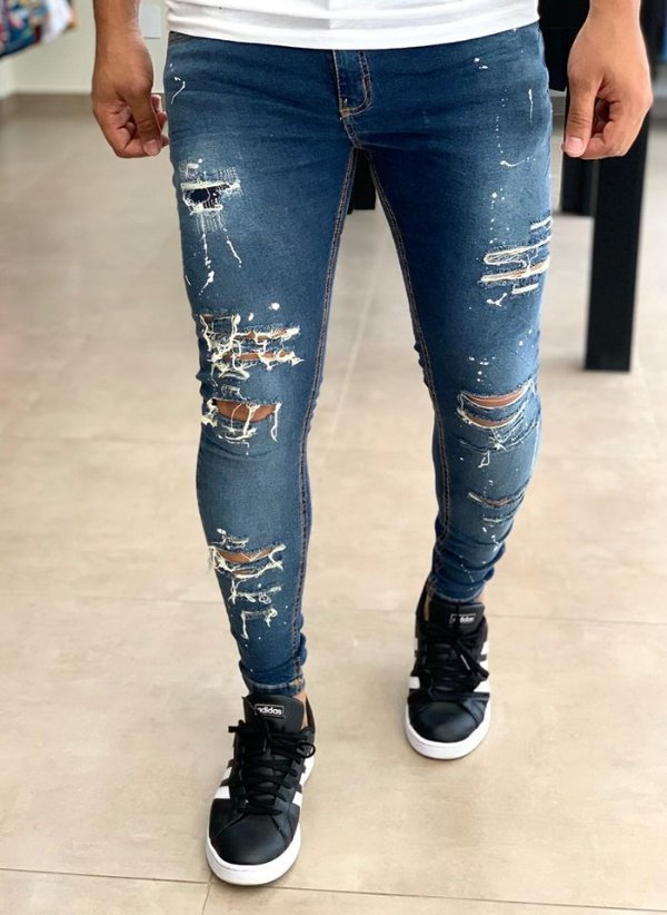 Calça Jeans Skinny Super Destroyed & Respingos - Creed Jeans