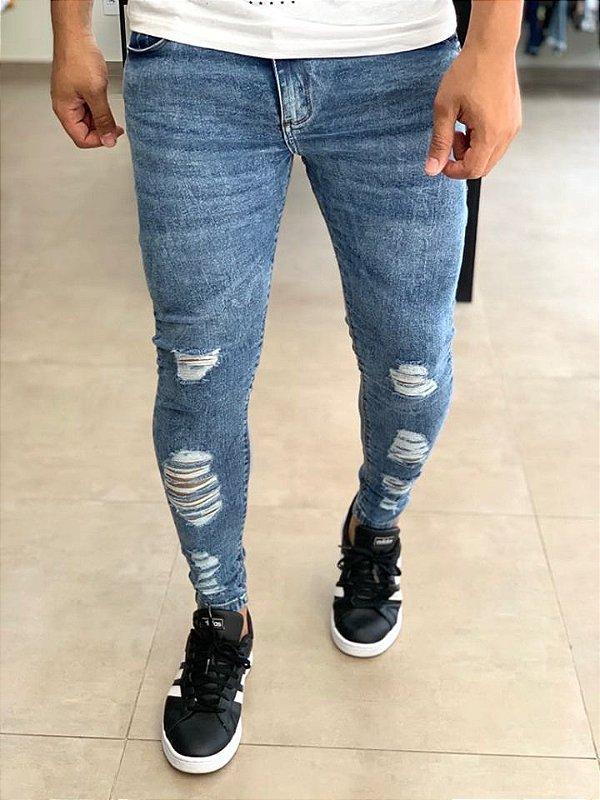 Calça Jeans Marmorizada Skinny Destroyed - John Jones