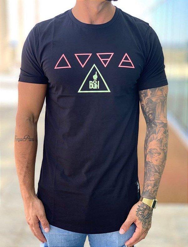 Camiseta Longline Elementos Candy Preto - Buh