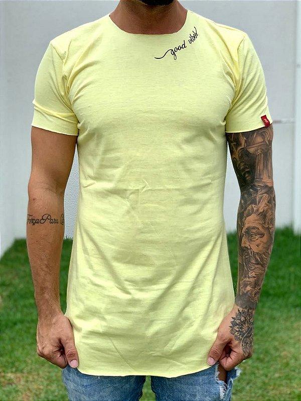 Camiseta Longline Yellow Good Vibes - JTK