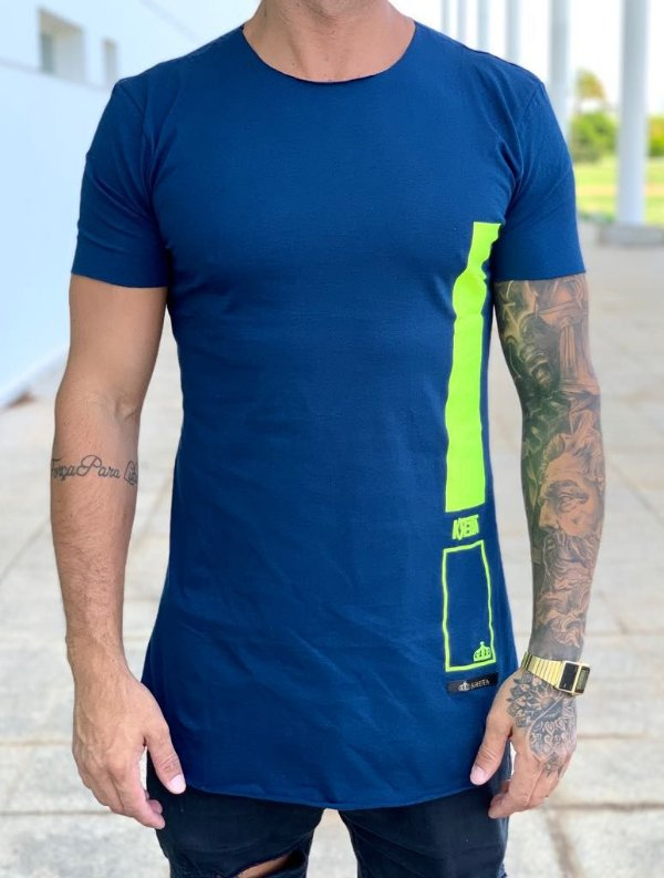 Camiseta Longline Blue Stripes - Kreta