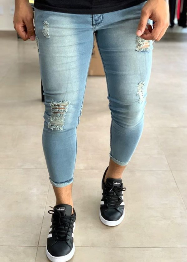 Calça Jeans Cropped Destroyed - Kawipii