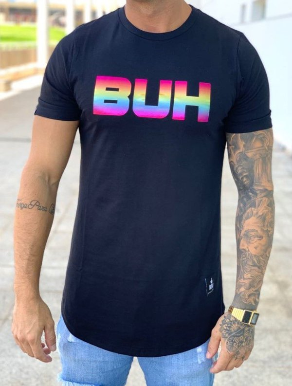 Camiseta Longline Black Multicolor - Buh