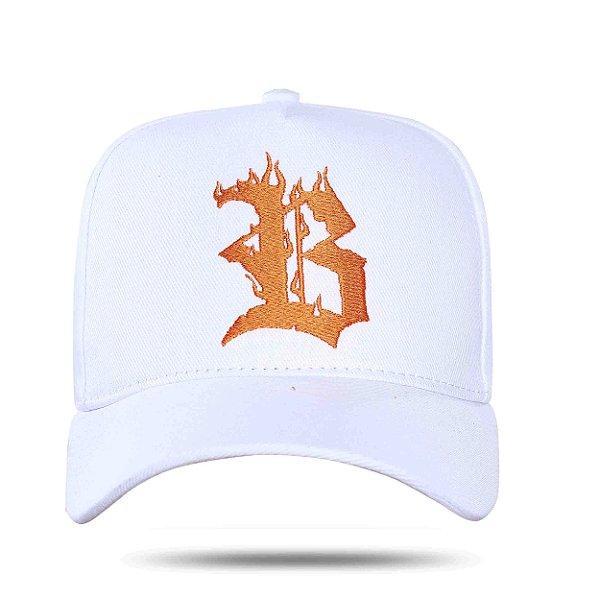 Boné Snapback Orange White Logo Flames - BLCK