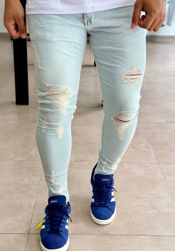 Calça Jeans Delavê Skinny Destroyed 1000 - Creed Jeans