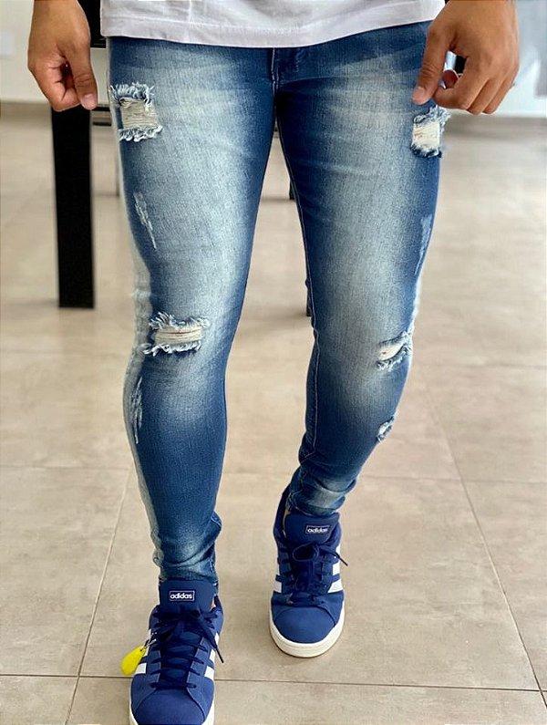 Calça Jeans Skinny Destroyed Faixa Branca - Kawipii