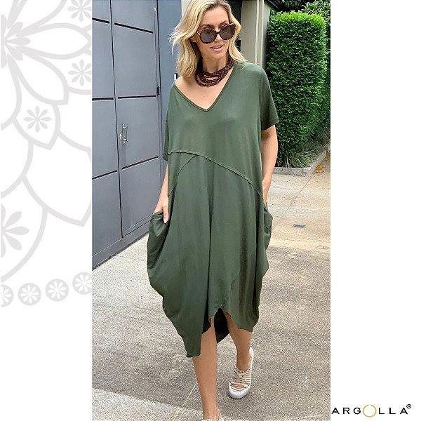 Vestido Frizo Califórnia- Verde Militar
