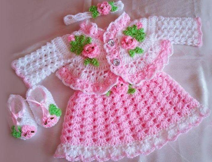 Conjuntinho rosa  Branco com Flor infantil