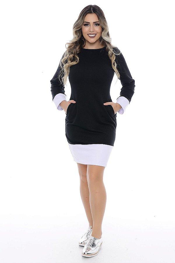 Vestido de Moleton preto com detalhes em Branco - RF:0147
