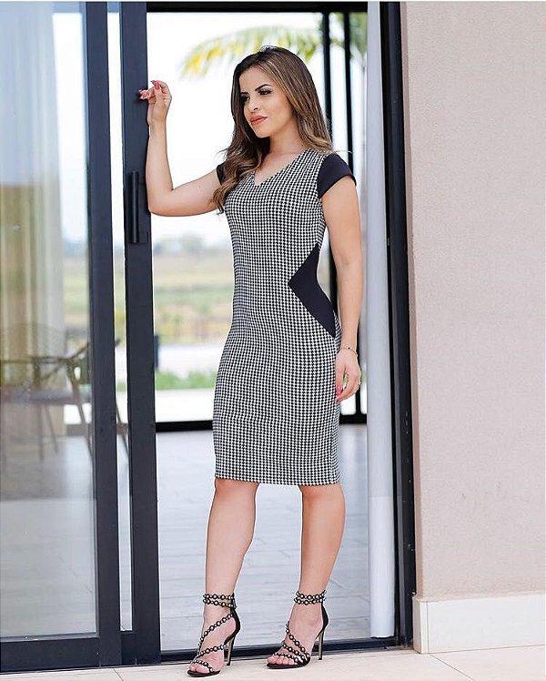Vestido Tubinho Pied Poule com Detalhes - RF:0229