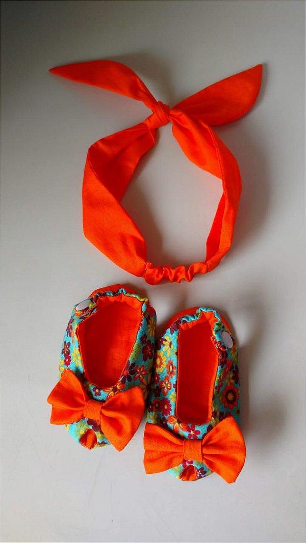 Kit faixinha + sapatinho peep toe