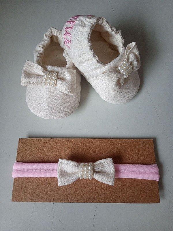 Kit faixinha de meia + sapatinho personalizado