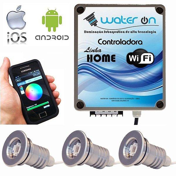 Kit Iluminação Piscina 3 Refletores 12w Led + Controle Wifi SMART
