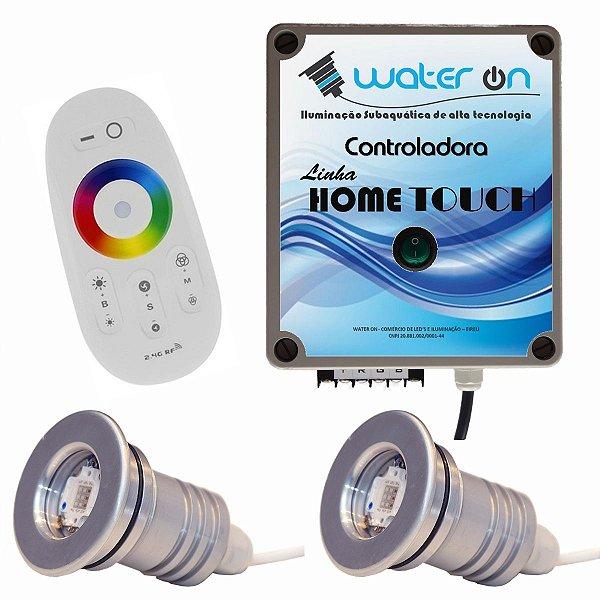 Kit Iluminação Piscina 2 Refletores 12w Led + Controle Touch