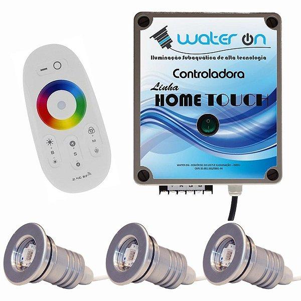 Kit Iluminação Piscina 3 Refletores 12w Led + Controle Touch