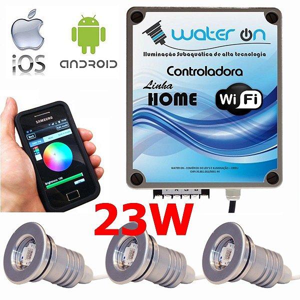 Kit Iluminação Piscina 3 Refletores 23w Led + Controle Wifi SMART