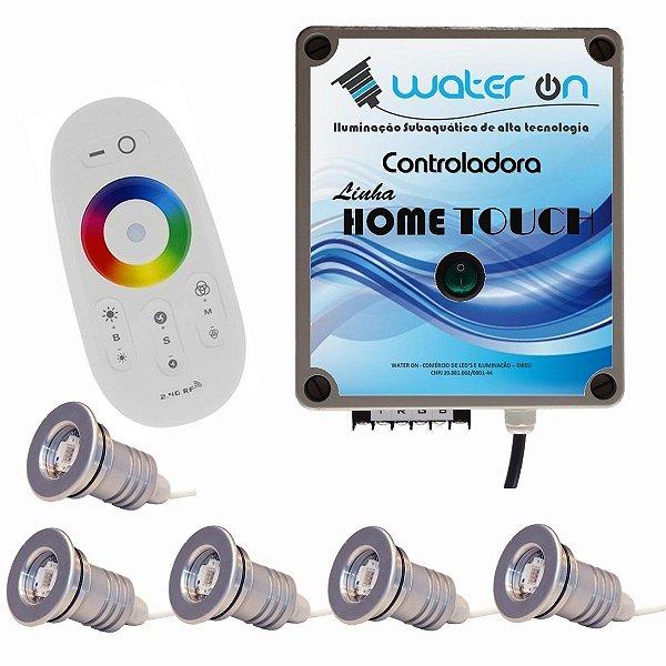 Kit Iluminação Piscina 5 Refletores 12w Led + Controle Touch