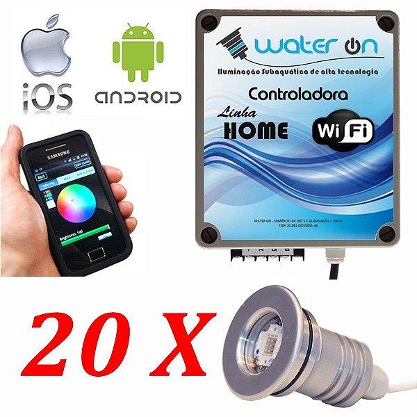 Kit Iluminação Piscina 20 Refletores 12w Led + Controle Wifi SMART
