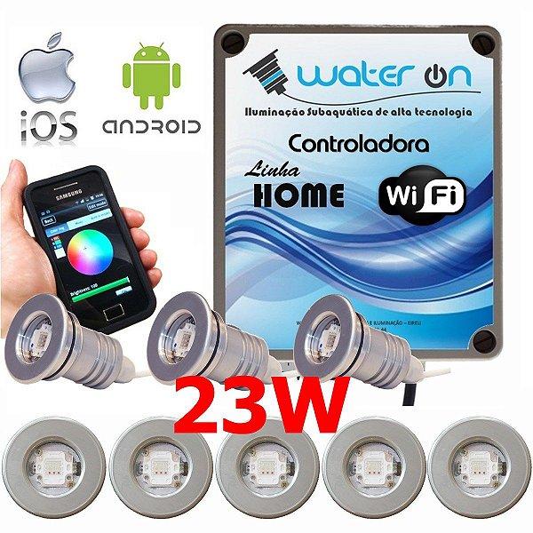 Kit Iluminação Piscina 8 Refletores 23w Led + Controle Wifi SMART