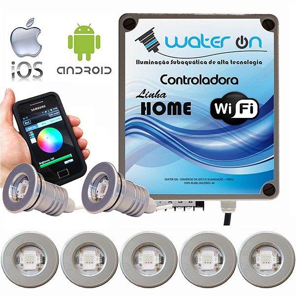 Kit Iluminação Piscina 7 Refletores 12w Led + Controle Wifi SMART