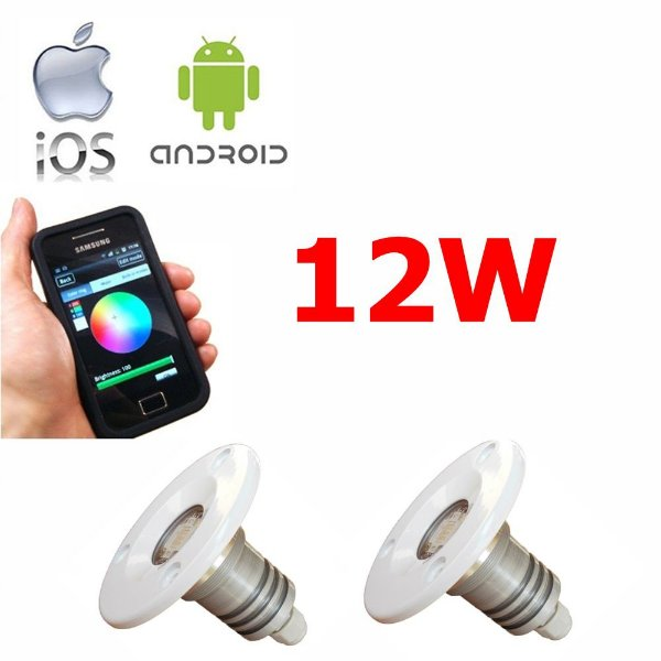 Kit Iluminação Lancha 2 Refletores 12W Led RGB -  Controle WiFi SMART