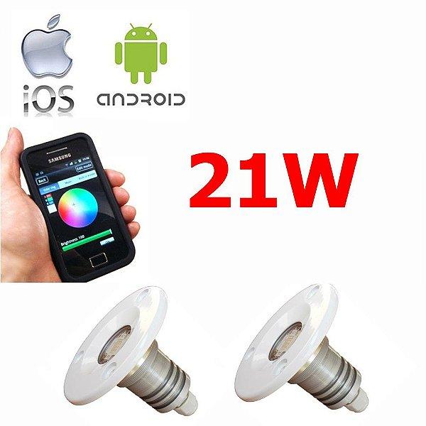 Kit Iluminação Lancha 2 Refletores 21W Led RGB -  Controle WiFi SMART
