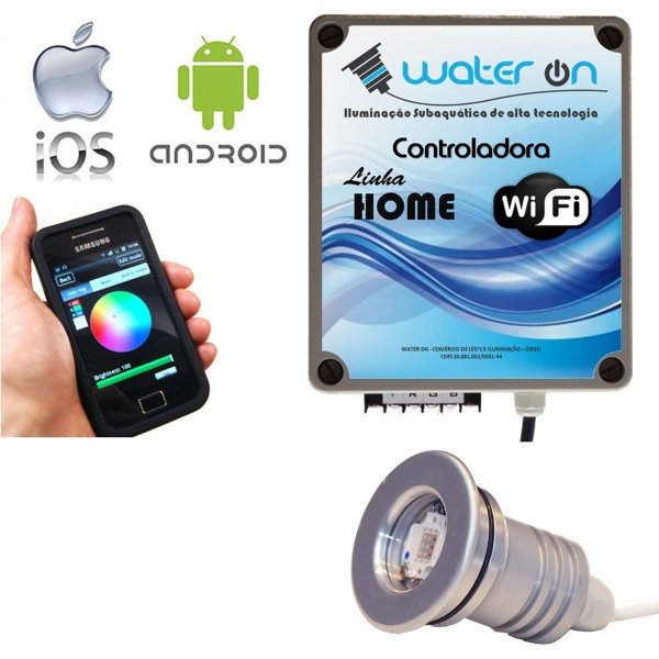 Kit Iluminação Piscina 1 Refletor 12w Led + Controle Wifi SMART