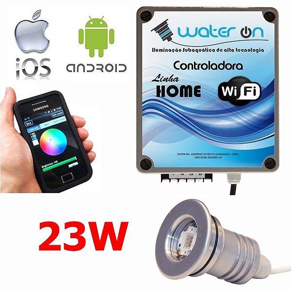 Kit Iluminação Piscina 1 Refletor 23w Led + Controle Wifi SMART