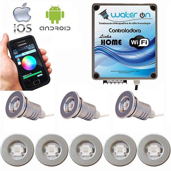 Kit Iluminação Piscina 8 Refletores 12w Led + Controle Wifi SMART