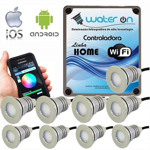 Kit Iluminação Piscina 9 Refletores 12w Led + Controle Wifi SMART
