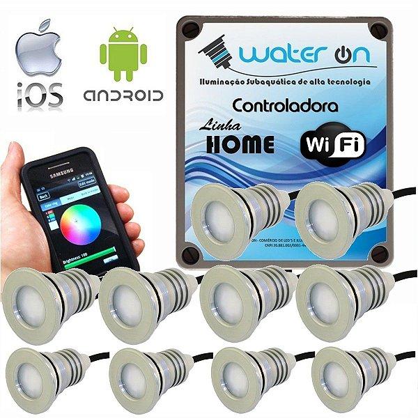 Kit Iluminação Piscina 10 Refletores 12w Led + Controle Wifi SMART