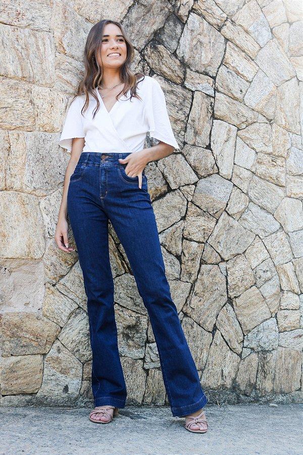 Calça Jeans Flare Jeans Escuro - Loopper - K2940862