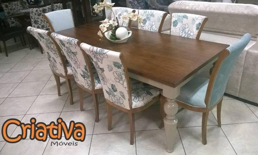 Sala de Jantar 8 lugares, 6 cadeiras florais e 2 lisas,  vidro branco 2,2m x 1,0m com tampo de madeira.