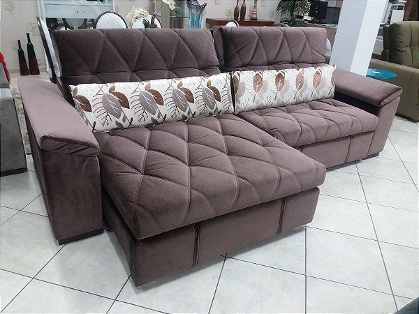 Sofá retrátil e reclinável, com molas no assento, largura 2,90m
