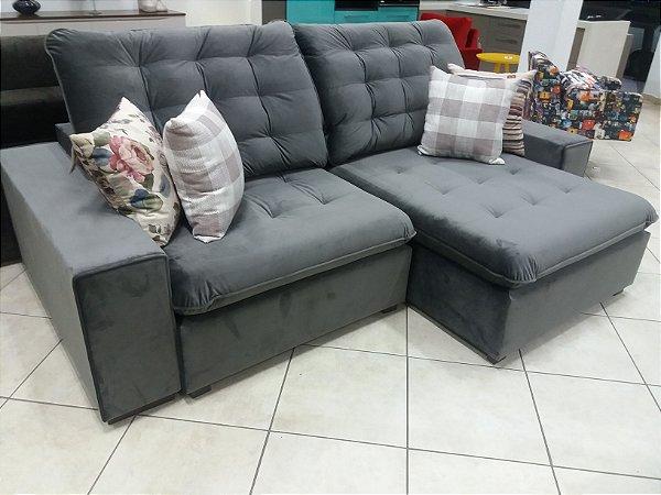 Sofá retrátil e reclinável com molas no assento, bi partido para entrega, 2,60m x 1,15m.
